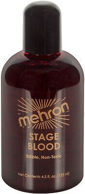Mehron Realistic Syrup Based Stage Blood 4oz Fake Blood, Red