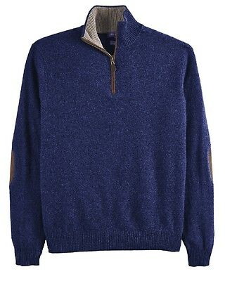 NWT Alan Flusser $325 Navy Blue Two Ply Cashmere 1/2 Zip Sweater XXL  2XLarge