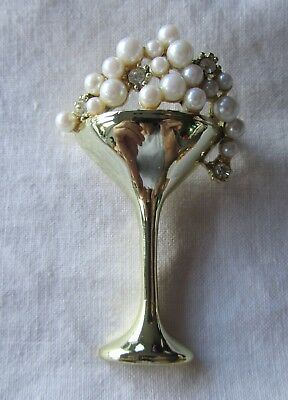 Vintage gold tone champagne glass brooch with rhinestones and faux pearls