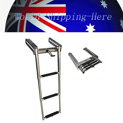 3 Steps Stainless Steel Under Platform Boat Boarding Telescoping Ladder AU Local