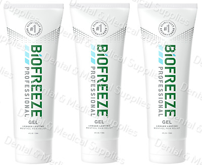3 Biofreeze Professional 4 oz Gel GREEN Tube EXP 2021 LONG LASTING FREE SHIPPING