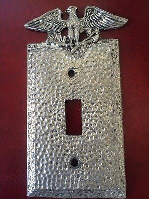 1 Vintage Patriotic Metal Edmar Black Hammered Switch Plate Cover Eagle Arrows