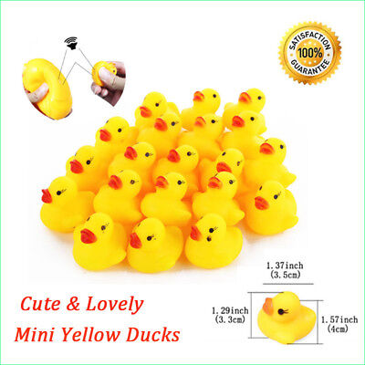 5X50X Mini Yellow Bathtime Rubber Ducks Bath Toy Squeaky Water Play Kids Toddler