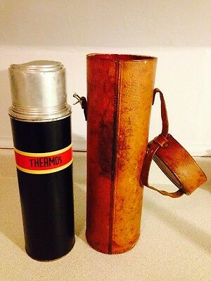 Vintage 1950's Thermos Model 7Q With Leather Carry Pouch & Original Cork
