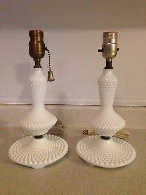 Superb Pair Of Antique Hobnail Milk Glass Table Lamps