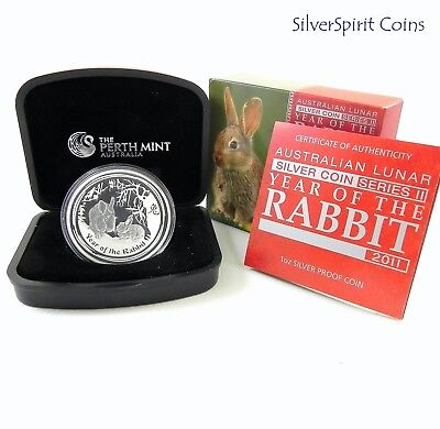 2011 $1 YEAR OF THE RABBIT 1oz Silver Proof Coin