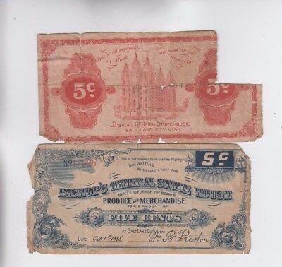 Obsolete Currency Salt Lake City two notes  lower grade
