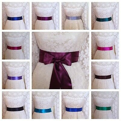 "Plain 2"" Dark Satin Sash Fabric Wrap Belt Self Tie Bow Bridal Party Fancy Dress"