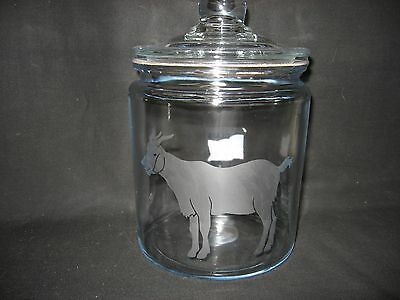 New Etched Goat Glass Cookie Candy Treat Storage Jar Canister