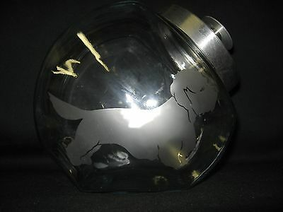 New Etched Dandie Dinmont Terrier Glass Cookie Candy Treat Storage Jar Canister