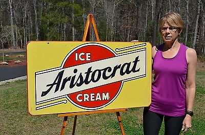 VINTAGE 50's ARISTOCRAT ICE CREAM SIGN ART DECO DESIGN AND GRAPHICS UNFINDABLE!