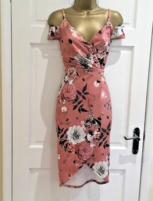 New Floral Cold shoulders Wrap Plunge Nude Party Bodycon Dress  6 8 10 12 14