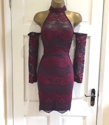 Fab New Lace Cold Shoulders Sleeves Wine Party Bodycon Dress Size  6 8 10 12 14