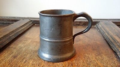 Antique Victorian Half Pint Pewter Mug / Tankard - E Jones Charleville Arms