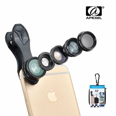Apexel Phone Camera Lens Kit, 5 in 1, Fisheye Lens + Wide Angle Lens + Macro +