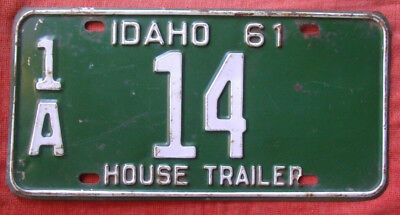 1961 Idaho House Trailer License Plate