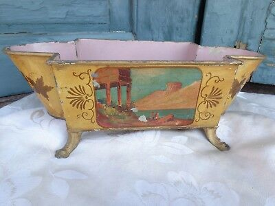 Antique French Tole Hand Painted Mustard Cache Pot Centerpiece Ferner