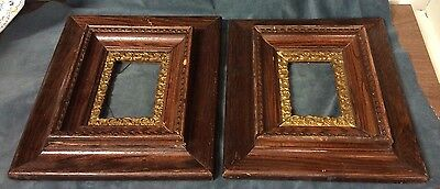 Antique Pair Of Ornate Oak Wooden Frames Gold Accents