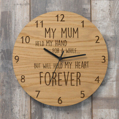 Mothers Day Held My Hand For a While But Will Hold My Heart Forever Wooden Clock