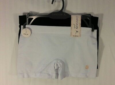 NWT Danskin Girls Boy-Cut Shorts Sz M Black-White 2 Nylon Dance Gymnastics Cheer