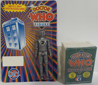 Doctor Who : Dapol Cyberman Action Figure Made In 1987 + Trading Card Set (Sctk)