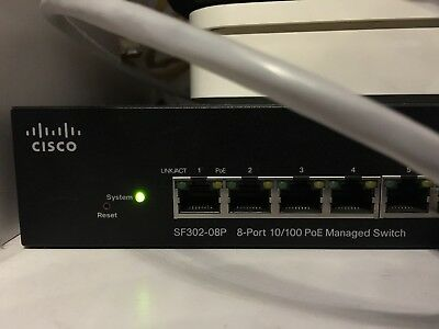 Cisco 300 Series SF 302-08P  8x 10/100 Mbit POE Manager Switch 2x link gigabit