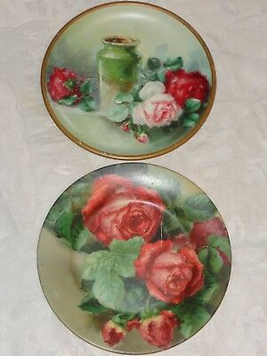 Antique Victorian Floral Roses Chromo Print Tin Plate Advertising Brewery Malt