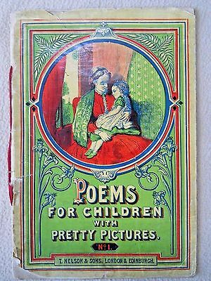 RARE Antique 1870 POEMS for Children with Pretty Pictures by T Nelson & Sons