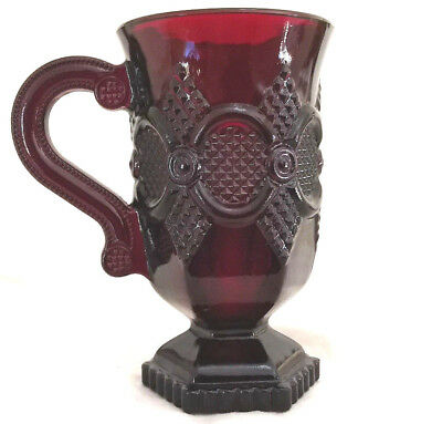 """Avon 1876 Cape Cod Collection Pedestal Mug ruby red color glass 5"""" tall"""