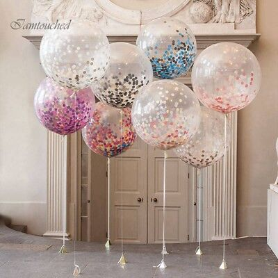 """5PCS 12"""" Clear Confetti Filled Balloons Birthday Home Party Wedding Decorations"""