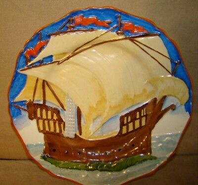 Hancock 's Ivory Ware England SHIP Plate Hand Painted Raised Detail Hancock VTG