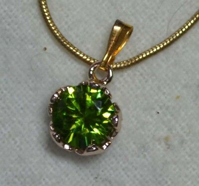 Vintage Art Deco 14k rose gold antique natural Peridot gemstone pendant