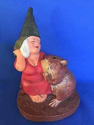 """RARE Vtg 1989 Rien Poortvliet Artina Gnome Lady with Mouse Figurine 7"""" Tall"""
