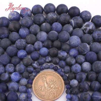 "6,8,10,12mm Natural Round Frosted Matte Blue Sodalite Stone Loose Beads 15"" DIY"