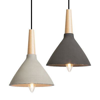 Concrete Cone Pendant Lighting Wood Timber Modern Contemporary Minimal