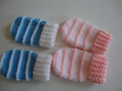 2 Prs Hand Knitted Baby Mittens, Pink/White, White/Blue, Stripe, 0-6 Mths, BNWOT
