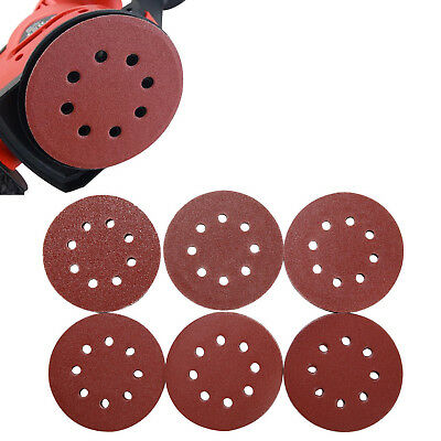 "5/10X 5"" 125mm 8Hole Hook Loop Sanding Discs 120-2000 Grit Orbital Sandpaper Pad"