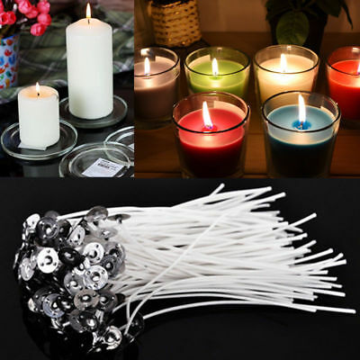30/50/100/200X Metal andle Wick Sustainer Wick Tabs Silver For DIY Candle Making