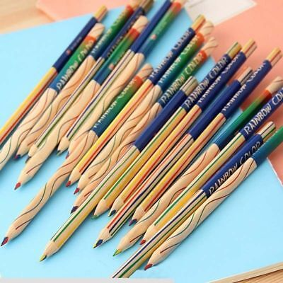 10Pcs Rainbow Color Pencil 4 in 1 Engineering Drawing Painting Pencils Kids CU