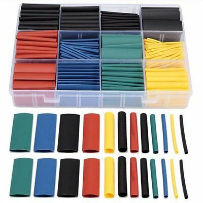 530Pcs Assorted 2:1 Heat Shrink Tubing Tube Cable Sleeving Wrap Wire Kit Box CU