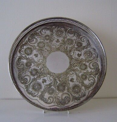 Vintage Silver Plated Butler Round Gallery Tray On Brass Engraved Central Panel