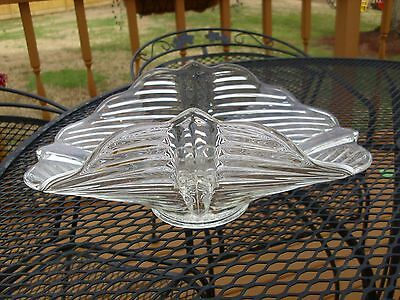 Antique EAPG Clear Glass Large Table Centerpiece Bowl With Tapered Candle Holder