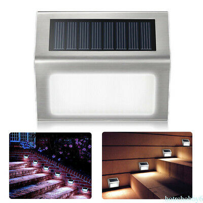 4 LED Solar Powered Stairs Fence Garden Security Lamp Outdoor Waterproof Light L