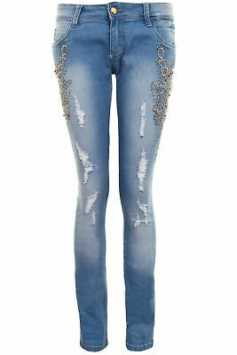 Womens Skinny Skin Tight Low Rise Diamante Ripped Fade Celeb Denim Jeans