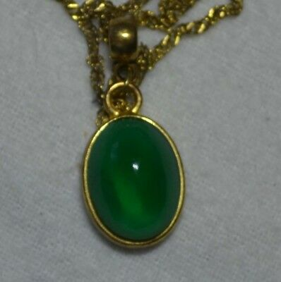 Vintage Art Deco 14k gold antique natural Chrome Diopside cab gemstone pendant