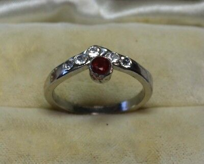 Vintage Art Deco Sterling Silver antique genuine Garnet gemstone ring size 8
