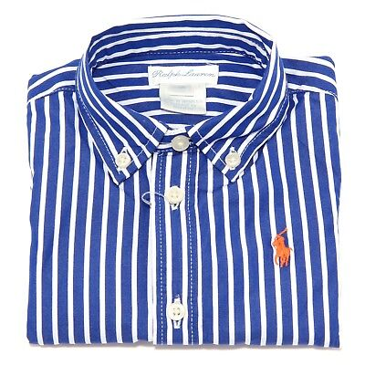 9204T camicia bimbo RALPH LAUREN stripe blue/white shirt cotton kid boy