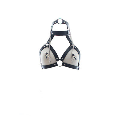Sexy Leather Top Clubwear Women's Fetish Costume Bondage Open Cup Lingerie B