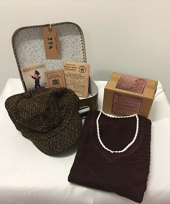 BOYS Wartime-1940's Complete Suitcase Set with Knitted Tank Top-School Day Set