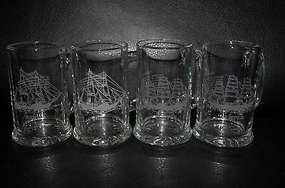 Etched Glass Ship Beer Steins Mugs Set of Four NEW